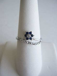 Something old and something blue - 14K white gold estate sapphire and diamond flower, dainty petite vintage engagement or anniversary ring with journey diamonds band, $189.00