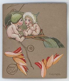 Snugglepot and Cuddlepie, the gumnut babies, are the protagonists of the story… Fairy Land, Fairy Tales, Australian Artists, Faeries, Vintage Images, Polar Bear, Illustrators, Watercolor Paintings, Character Design