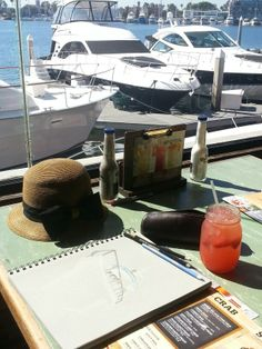Sketching in #Newport #Beach.  Love view from #Crabshank
