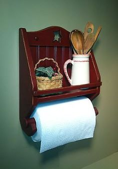 Rustic,+Primitive,+Country+Paper+Towel-Rolling+Pin+Shelf+–+Deep+Cranberry+Red