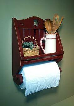 Handmade Primitive Wooden Paper Towel Holder By