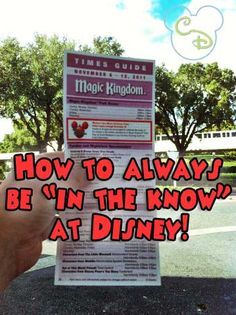 The Times Guide is located at the front of each Walt Disney World park. This guide is released every week and contains that week's park hours, parade and show times and times and locations of character meet and greets.
