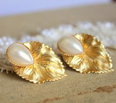Pearls and gold leaf earrings 18k matt gold plated post by iloniti, $28.00