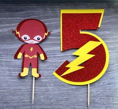 Custom cake toppers for any occasions by MKCraftHouse Flash Birthday Cake, 5th Birthday Party Ideas, Superhero Birthday Party, Birthday Cake Toppers, Birthday Fun, Birthday Party Decorations, Birthday Cakes, Bolo Flash, Flash Cake