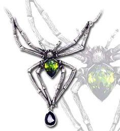 Alchemy Gothic Spider Emerald Venom Pendant - P432