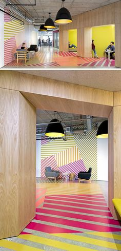 Interior design Office Colors - This office design has a colorful geometric pattern that flows from the wall to the floor, and is inspired by the tulip fields found in the Netherlands Colorful Interior Design, Office Interior Design, Colorful Interiors, Interior Decorating, Office Designs, Office Wall Design, Design Offices, Interior Ideas, Design Entrée