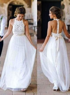 High Neck Lace Long Sheath Simple Design Ivory Wedding Party Dresses WD0089