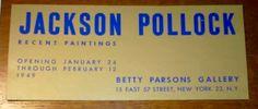 JACKSON POLLOCK, 1949 Betty Parsons Invite at VINCE www.artnet.com/galleries/vince-fine-arts/  #basquiat #keithharing #andywarhol #artbasel #grotjahn #jacksonpollock