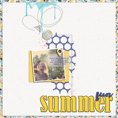 summer fun digital scrapbook layout sun play outside adventure scrap book page