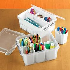 The Container Store > Medium Smart Store System Tote.  These are GREAT for organizing tools and crafts.