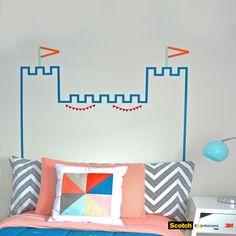 Washi Tape Headboard Castle DIY