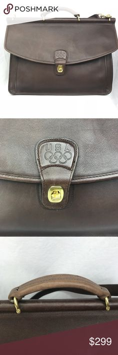 Coach Brown Leather Team USA Briefcase RARE Rare Team USA Brown Leather Coach Briefcase Detachable shoulder strap with gold pinch clasp hardware Two interior pockets One with credit card slots, the second with a zipper pocket Excellent condition  Please reach out with any questions! Coach Bags Briefcases