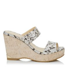 JIMMY CHOO Parker 100 Roccia Elaphe Painted Cork Wedges. #jimmychoo #shoes #s