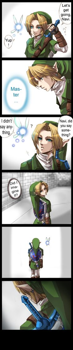 The Legend of Zelda: Ocarina of Time and The Legend of Zelda: Skyward Sword, Adult Link and Navi / LoZ-Master Sword by Nintendraw on deviantART