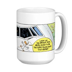 Funny Coffee Mug. Ducks meet jet mid flight and get to arrive South ahead of the other ducks. $26 from the Swamp Cartoons Zazzle Store. #CoffeeMug http://www.zazzle.com.au/swamp_ducks_mid_air_collision_coffee_mug-168131112822342414?view=113846248488515656