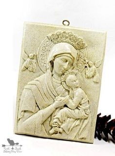 Toasted Almond Color Vintage Madonna and Child Religious Plaque From northandsouthshabby