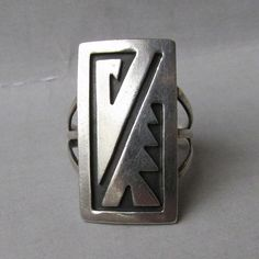 BIG Vintage Native American HOPI Sterling Silver Ring from crystazzle on Ruby Lane