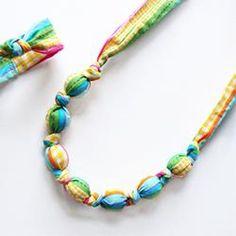 Fabric & Bead Necklace & Bracelet