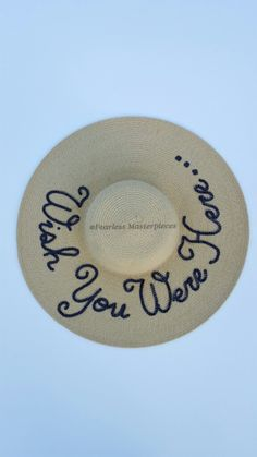 Custom wish you were here sequins sun floppy beach hat by FearlessMasterpiece on Etsy