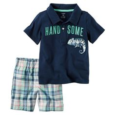 Toddler Boy Carter's Short Sleeve Embroidered Chameleon Polo Shirt & Plaid Shorts Set, Size: 2T, Blue
