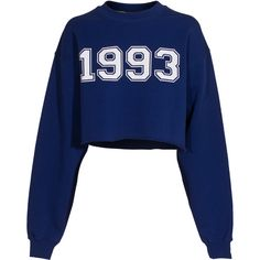 MSGM 1993 Electric Blue Cropped Sweatshirt ($77) ❤ liked on Polyvore featuring tops, hoodies, sweatshirts, sweaters, shirts, crop tops, crop top, royal blue crop top, blue top and heart sweatshirt