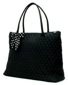 Belvah Extra Large Quilted Cotton Tote Handbag Black w White Bow ** Check this awesome product by going to the link at the image.