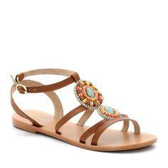 Sandales plates bijoux en cuir - La Redoute