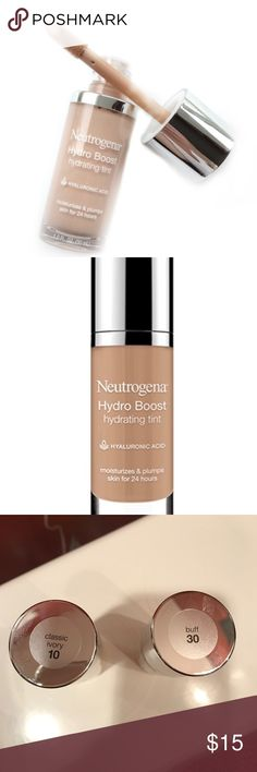 HPNWT Neutrogena Hydro Boost Hydrating Tint Two colors available: Classic Ivory or Buff. Brand new never opened. Plump your skin boost hydration and even the look of your complexion with NEUTROGENA Hydro Boost Hydrating Tint. Better for your skin than wearing no foundation at all this face makeup with hyaluronic acid quenches skin for 24 hours. The weightless hydration-infused formula is oil-free and non-comedogenic which means it won't clog pores. This foundation for dry skin is available…