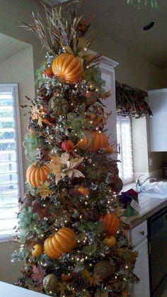 Fall/Thanksgiving tree -from FB friend Thanksgiving Tree, Thanksgiving Decorations, Halloween Decorations, Fall Tree Decorations, Seasonal Decor, Holiday Decor, Pencil Christmas Tree, Holiday Tree, Fall Christmas Tree