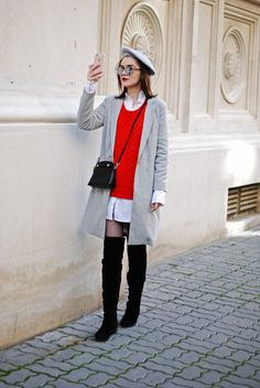 Grey beret, grey coat, red sweater knit, fishnet tights trend, christian dior so real mirrored sunglasses, distressed mini denim skirt, black suede over the knee boots, otk, zara, furla black leather crossbody bag, couturezilla, andreea birsan, casual cute fall outfit ideas 2016, white button down shirt