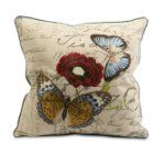 """18"""" Vintage Butterfly and Red Flower with Decorative Script Throw Pillow:Amazon:Home & Kitchen"""
