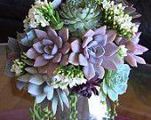 Kristin- Succulent Wedding Bouquet, Succulent Bridesmaid Bouquet