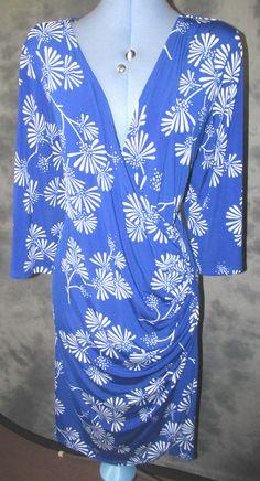 Wardrobe Essentials,ladies,size 24,blue floral,v neck,bodycon,formal,Dress.