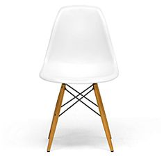 Update your home decor in a simple, yet sophisticated way with these classic accent chairs. The unique shape and curved plastic seat adds style and one-of-a-kind charm. Stabilized by wooden legs, thes