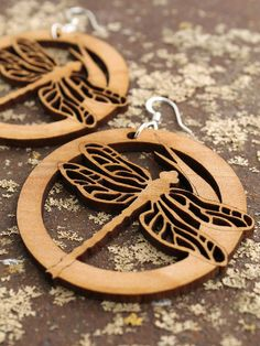 Dragonfly Earrings Laser Cut Wooden Hoops by TimberGreenWoods, $15.95