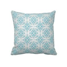 Aqua Teal Blue and Silver Damask Throw Pillow