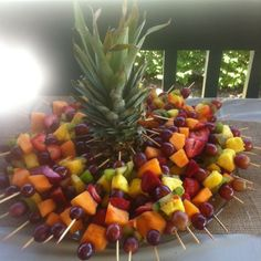 ... , Food Trays, Party Ideas, Fruit Kabob, Party Food, Fruit Trays