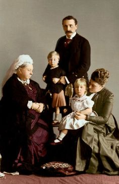 Queen Victoria with her daughter Princess Beatrice, son-in-law Prince Henry of Battenberg and two of Beatrice and Henry's children, Leopold and Victoria Eugenie ('Ena')