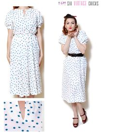 Polka dot Dress with pockets women clothing cocktail dress midi bohemian boho chic hippie retro 60s clothing short sleeve rockabilly L by SixVintageChicks on Etsy