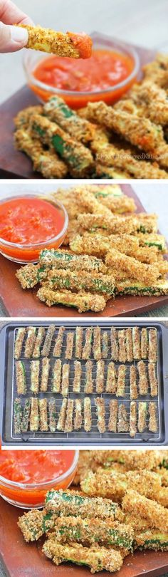 "CRISPY HEALTHY BAKED ZUCCHINI FRIES - With a crispy ""junk food"" taste, you could technically eat the ENTIRE recipe for under 200 calories! http://chocolatecoveredkatie.com/2013/05/28/crispy-healthy-baked-zucchini-fries/"