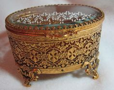 Antique Jewelry Box With Delicate Gold Tone by TheJoyOfVintage