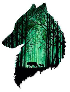 Amazing wolf head with the forest inside. Color: Green. Tags: Best, Amazing, Cover Up, Great