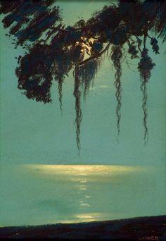 ' m o o n l i t s i l h o u e t t e ' 🎨: © Harry Linder Finnish-American, (1886-1931) 1920s