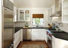 kitchen, U Shape Small Kitchen Modern Interior Design Inspiration With White Kitchen Units White Brick Wall Stainless Faucet White Cabinet D...