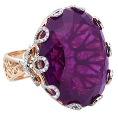 Casa Reale Jewelry.Haute Couture 18KT  ROSE GOLD  1.69TCW  DIAM  99.08CT  AMETHYST