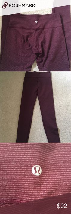 Lululemon WUP bordeaux stripe-4 Lululemon Wunder Under bordeaux tonka stripe. Size 4. Excellent condition. lululemon athletica Pants Leggings