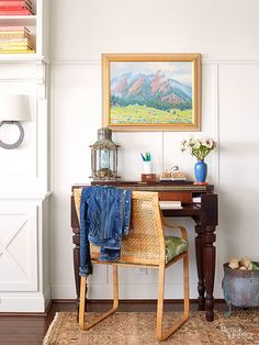 Include a picture rail along walls to add architectural interest and avoid overcrowded wall space./