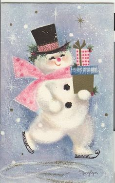 Vintage Hallmark Christmas Greeting pink