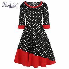 ce30ce44f58 New O-neck 3 4 Sleeve A-line Polka Dot Swing Rockabilly Dress