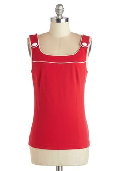 Matey in Red Tank by Bea & Dot - Red, Solid, Sleeveless, Summer, Exclusives, Private Label, Red, Sleeveless, 60s, White, Buttons, Trim, Nautical, Vintage Inspired, Mid-length, Good, Top Rated